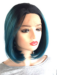 cheap -Synthetic Lace Front Wig / Cosplay & Costume Wigs Straight Bob Haircut / Middle Part Synthetic Hair 10-14 inch Heat Resistant / Women / Middle Part Bob Ombre Wig Women's Short Lace Front
