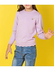 Недорогие -Дети Девочки Классический Однотонный Вышивка Длинный рукав Хлопок Свитер / кардиган