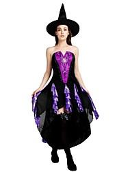 billige -Heks Dragter Dame Halloween / Karneval / Barnets Dag Festival / Højtider Halloween Kostumer Lilla Ensfarvet / Halloween Halloween