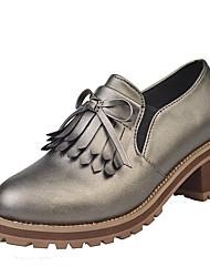 baratos -Mulheres Bullock Shoes Couro Ecológico Verão Conforto Mocassins e Slip-Ons Salto Robusto Ponta Redonda Laço Preto / Bege / Cinzento Escuro / Diário
