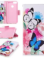 preiswerte -Hülle Für Huawei P smart Geldbeutel / Kreditkartenfächer / mit Halterung Ganzkörper-Gehäuse Schmetterling Hart PU-Leder für P smart