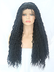 cheap -Synthetic Lace Front Wig Curly Middle Part Synthetic Hair 24-26 inch Adjustable / Heat Resistant Black Wig Women's Long Lace Front