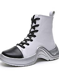 billige -Dame Fashion Boots PU Efterår Afslappet Støvler Creepers Rund Tå Støvletter Hvid / Sort / Sølv / Farveblok