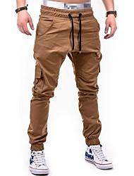 abordables -pantalones de algodón de talla grande para hombre / pantalón de harén - bloque de color
