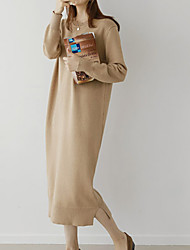 baratos -Mulheres Para Noite Delgado Tricô Vestido Médio