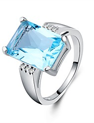 cheap -Women's Cubic Zirconia Stack Ring - Copper Fashion 6 / 7 / 8 / 9 / 10 Light Blue For Gift