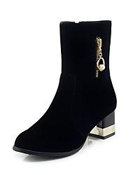 baratos -Mulheres Fashion Boots Camurça Outono & inverno Clássico Botas Salto de bloco Ponta Redonda Botas Cano Médio Pérolas Sintéticas Preto