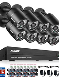 cheap -SANNCE® 8CH CCTV Security System 1080P AHD/TVI/CVI/CVBS/IP 5-in-1 DVR with 8pcs 2.0MP Cameras No HDD