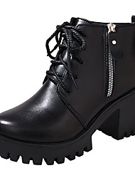 cheap -Women's Fashion Boots PU(Polyurethane) Fall Casual Boots Chunky Heel Round Toe Booties / Ankle Boots Black