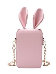 baratos -Mulheres Bolsas PU Telefone Móvel Bag Botões Branco / Preto / Rosa