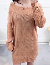 povoljno -Žene Dugih rukava Duga Pullover Jednobojni