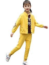 Недорогие -Дети Девочки Классический Спорт С принтом Длинный рукав Хлопок Набор одежды