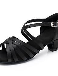 cheap -Women's Latin Shoes Satin Sandal / Heel Buckle Thick Heel Customizable Dance Shoes Black