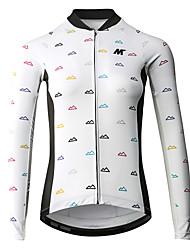 baratos -Mysenlan Manga Longa Camisa para Ciclismo - Branco / Preto Moto