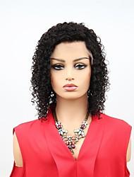abordables -Cabello Remy Encaje Frontal Wig Cabello Brasileño Afro Kinky Peluca Corte asimétrico 130% Mujer / Fácil vestidor / sexy lady Negro Mujer 8-14 Pelucas de Cabello Natural
