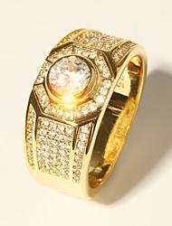 baratos -Homens Clássico Fashion Anel - Imitações de Diamante Precioso Luxo, Clássico, Fashion 7 / 8 / 9 / 10 / 11 Dourado Para Festa de Noite Encontro