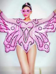 baratos -Fantasia de Dança Roupas de Dança Exótica / Macacão Para Dança Mulheres Espetáculo Elastano Cristal / Strass Manga Longa Natural Collant / Pijama Macacão