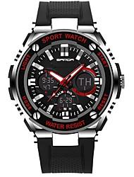 Недорогие -SANDA Муж. Спортивные часы электронные часы Японский Цифровой силиконовый Черный 30 m Защита от влаги Календарь Хронометр Аналого-цифровые Роскошь Мода -  / Фосфоресцирующий
