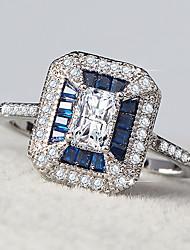 cheap -Women's Synthetic Aquamarine Cubic Zirconia Classic Stylish Ring - Creative, Vertical Stylish, Geometric, Romantic 5 / 6 / 7 / 8 / 9 Blue For Wedding Gift