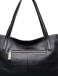 Недорогие -женская сумка наппа кожаная сумка на молнии / твердая черная