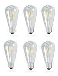 Недорогие -Ecolight™ 6шт 4 W 320 lm E26 / E27 LED лампы накаливания ST64 4 Светодиодные бусины COB Новый дизайн Тёплый белый 220-240 V / 110-120 V