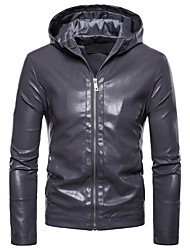 cheap -Men's Leather Jacket - Solid Colored Hooded / Long Sleeve