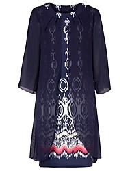 Недорогие -Жен. Классический / Изысканный Фонарь рукавом А-силуэт Платье С принтом Ассиметричное