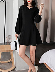 cheap -Women's Little Black Dress - Solid Colored V Neck