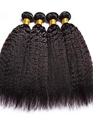 Недорогие -4 Связки Бразильские волосы Яки 8A Натуральные волосы Человека ткет Волосы Удлинитель Пучок волос 8-28 дюймовый Естественный цвет Ткет человеческих волос Машинное плетение