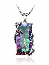 cheap -Women's Tourmaline Stylish / Solitaire Pendant Necklace / Chain Necklace - Leaf Stylish, Artistic, European Rainbow 45 cm Necklace 1pc For Gift, Date