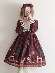 cheap -Sweet Lolita Dress Sweet Lolita Chiffon Female Dress Cosplay Red / Blue Juliet Sleeve Long Sleeve Midi Halloween Costumes