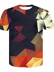 Недорогие -Муж. С принтом Футболка Круглый вырез Геометрический принт / 3D / С короткими рукавами