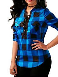 Недорогие -Жен. Шнуровка Рубашка Классический Полоски Синий и белый / Черный и красный