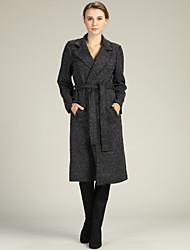 cheap -Women's Work Long Sleeve Slim Long Cardigan - Solid Colored Shirt Collar / High Waist / Fall / Winter