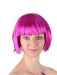 Недорогие -Парики из искусственных волос / Маскарадные парики Жен. Прямой Стрижка боб Искусственные волосы 12 дюймовый Модный дизайн / Косплей / обожаемый Розовый Парик Короткие Машинное плетение