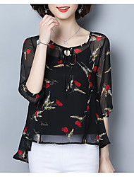 cheap -Women's Blouse - Solid Colored / Geometric Ruffle / Lace up / Print