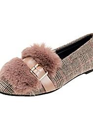Недорогие -Жен. Комфортная обувь Полиуретан Осень На плокой подошве На плоской подошве Круглый носок Черный / Хаки