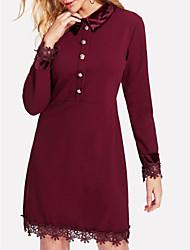 Недорогие -Жен. Оболочка Платье - Однотонный, Кружевная отделка Рубашечный воротник Выше колена