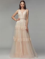 economico -Linea-A A V Lungo Di pizzo / Tulle Serata formale Vestito con Perline / Con applique di TS Couture®