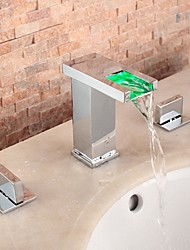 cheap -Bathroom Sink Faucet - Waterfall / LED Chrome Widespread Two Handles Three Holes
