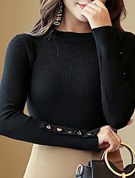 billige -Kvinders langærmet bomulds slank pullover - solid farvet rund hals