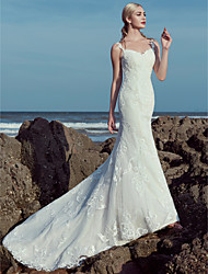 cheap -A-Line Sweetheart Neckline Sweep / Brush Train Lace / Tulle Made-To-Measure Wedding Dresses with Beading / Lace by LAN TING BRIDE® / Beautiful Back