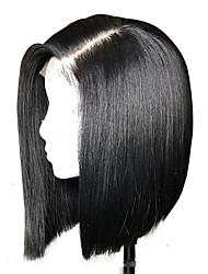 Недорогие -Натуральные волосы Лента спереди Парик Бразильские волосы Бирманские волосы Kinky Curly Природа Черный Парик Стрижка боб 130% Плотность волос / с детскими волосами / с детскими волосами