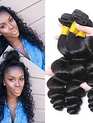 billige -3 Bundler Brasiliansk hår Bølget Ubehandlet Menneskehår, Bølget / Bundle Hair / Én Pack Solution 8-28 inch Menneskehår Vævninger Maskinproduceret Klassisk / Bedste kvalitet / Til sorte kvinder