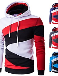 cheap -Men's Lace up Hoodie & Sweatshirt - Red and White, Blue / White, Royal Blue Sports Color Block, Fashion Top Running, Fitness, Gym Long Sleeve Activewear Thermal / Warm, Anatomic Design, Breathable