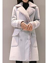 Недорогие -Жен. Повседневные Длинная Пальто, Однотонный Рубашечный воротник Длинный рукав Полиэстер Розовый / Светло-серый L / XL / XXL