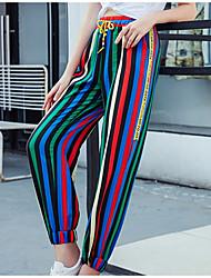 economico -Per donna Vita alta Largo Pantaloni della tuta Pantaloni - A strisce