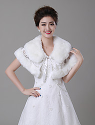 cheap -Sleeveless Faux Fur Wedding / Birthday Women's Wrap With Stitching Lace / Lace-up Capelets
