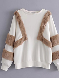 baratos -camisola de mangas compridas para senhora - bloco de cor / gola redonda de cor sólida