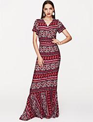 economico -Per donna Boho Largo Vestito Monocolore Maxi